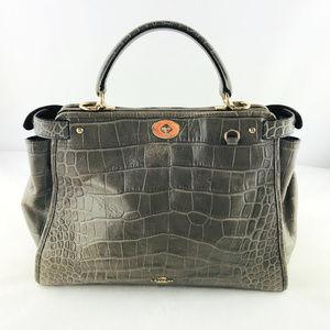 COACH Leather Alligator Carry Satchel Handbag
